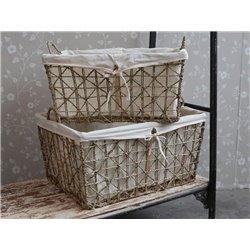 Baskets w. linen set of 2
