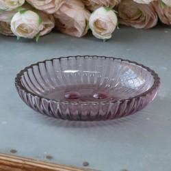 Szklana Mydelniczka Chic Antique z Fioletowego Szkła