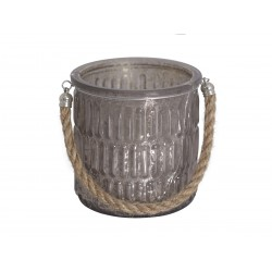 Tealicht candlestick w.rope mocca