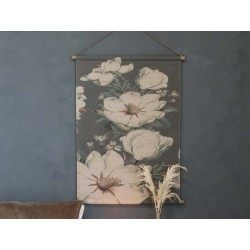 Canvas for hanging w. floral motif