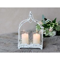 Lantern w. 2 holders for candle & decor