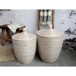 Wicker Basket w. lid set of 2