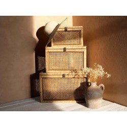 Boxes in French wicker set of 3