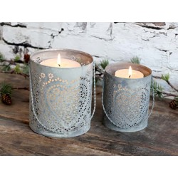 Lantern w. heart set of 2