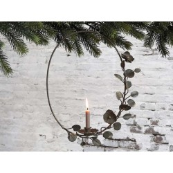 Wreath for taper candle w. hanging