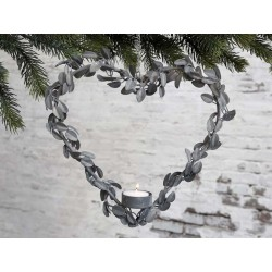 Wreath Heart for tealight w. hanging