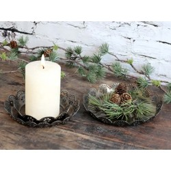 Candle Tray w. lace edge set of 3