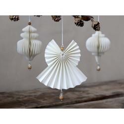 Angel in paper w. wooden pearl