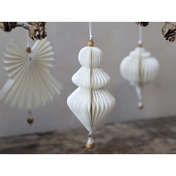 Ornament in paper w. wooden pearl