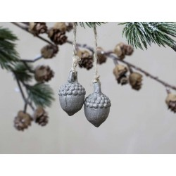 Acorn w. glitter for hanging set of 2