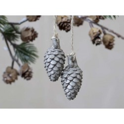 Pine cones w. glitter set of 2