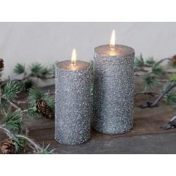 Rustic Pillar Candle w. glitter