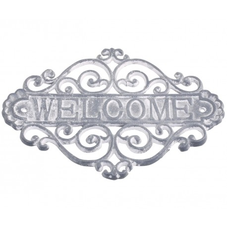 Żeliwna Tablica Welcome Chic Antique Szara