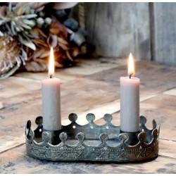 Metalowy Świecznik Korona Chic Antique Podwójny