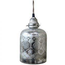 Szklana Lampa Chic Antique Srebrna z Wzorkami