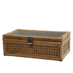 Box in French wicker w. 4 compartments
