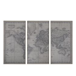 Picture w. world map set of 3