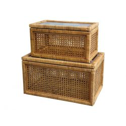 Boxes in French wicker w. glass set of 2