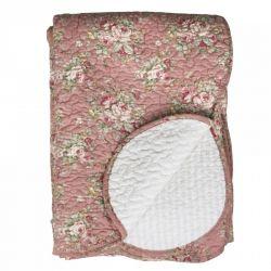 Narzuta Na Łóżko Pikowana w Kwiaty Chic Antique Różowa