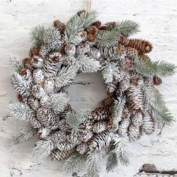 Świąteczny Wianek Chic Antique z Szyszkami i Śniegiem
