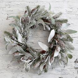 Świąteczny Wianek Chic Antique Oprószony Śniegiem