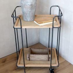 Trolley w. 2 shelves in cane