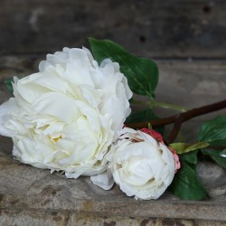 Kwiaty Sztuczne Piwonia Biała