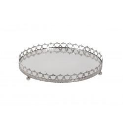 Mirror dish w.silver decor D13 cm