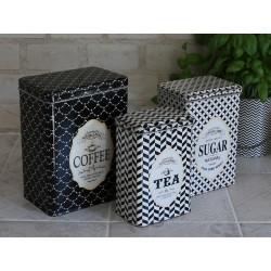 Box w. pattern set of 3 cream/black