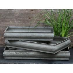 Trays antique zinc set of 3