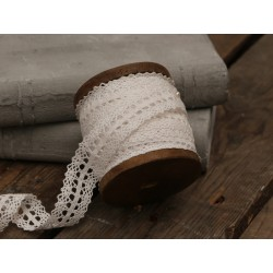 Lace ribbon on wooden spool