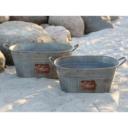 Tubs set of 2 antique zinc