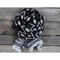 Jaquard scarf vintage black 70x180 cm