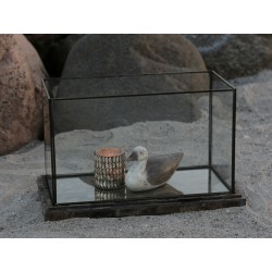 French glass cabinet w. tray wood