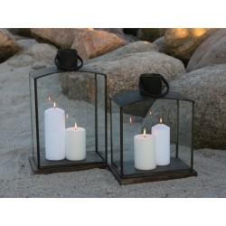 Lantern w. tray wood antique coal