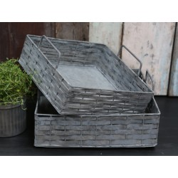 Trays braided zinc set of 2