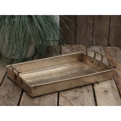 Tray w. handle brass 40x27 cm